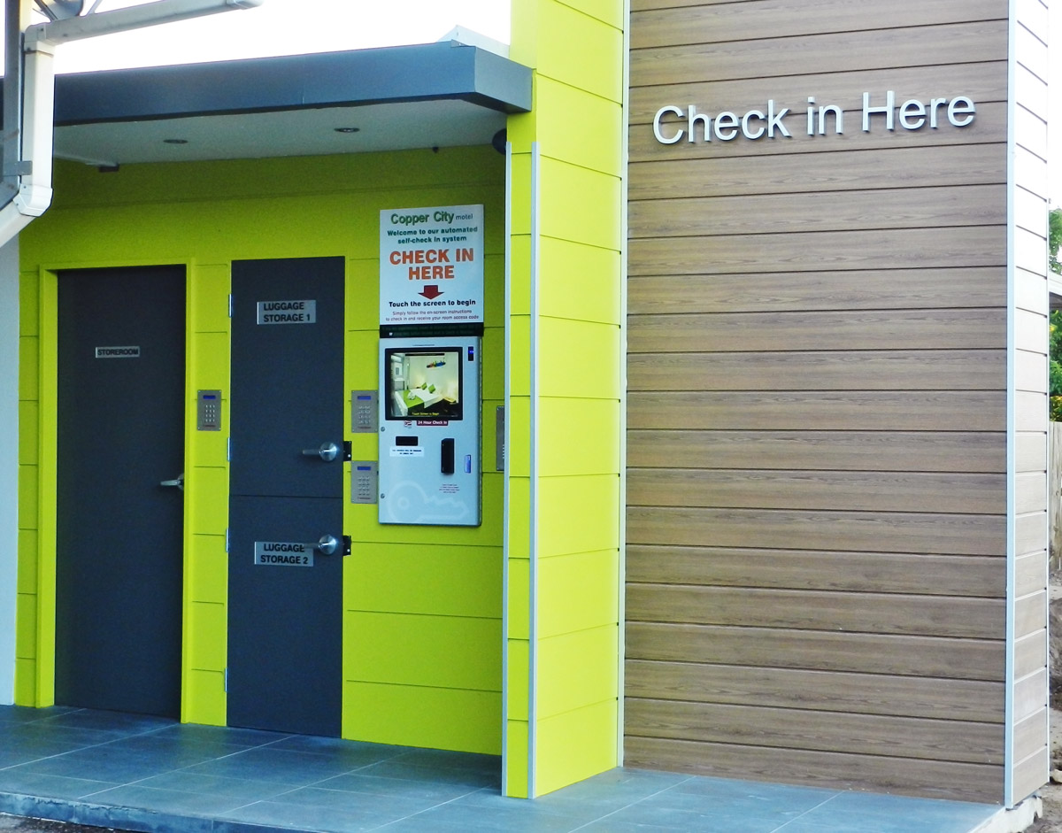 Automated self check-in kiosk for Copper City Motel, Mt Isa